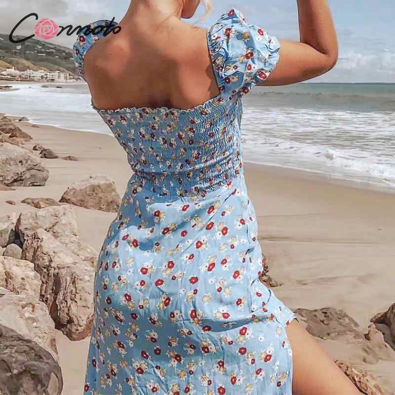 Conmoto Винтажное платье миди со шнуровкой, сексуальное платье в стиле бохо с цветочным принтом, богемное летнее платье, лето 2019