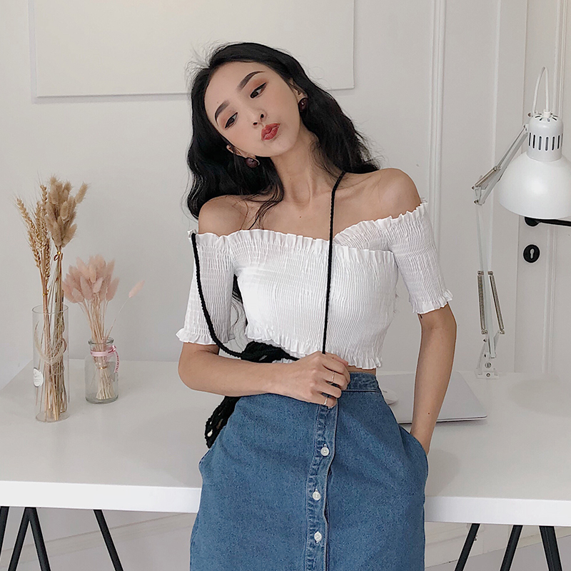 Women Slash Neck Short Sleeve Off Shoulder Cropped   Shirts   Tee Girls Solid Sexy Ruffles   Blouses     shirts   Crop Tops For Female