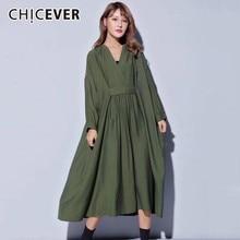 CHICEVER 2020 sonbahar elbiseler büyük boyutları V boyun uzun kollu gevşek büyük boy Midi elbise kadın nedensel elbise yeni