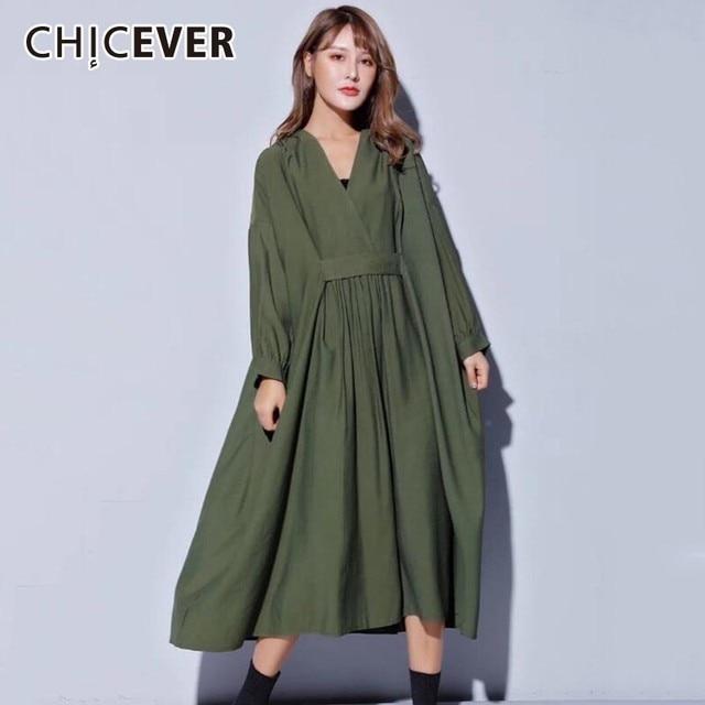 Vestido midi feminino, vestido midi tamanho grande gola v manga comprida solto roupas casuais para outono 2020