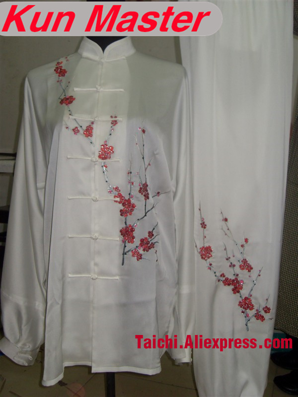 Custom Tai Chi Performance Uniform Red Plum Blossom Embroidery  Martial Art Clothing For Kung Fu According Height And Weight Custom Tai Chi Performance Uniform Red Plum Blossom Embroidery  Martial Art Clothing For Kung Fu According Height And Weight