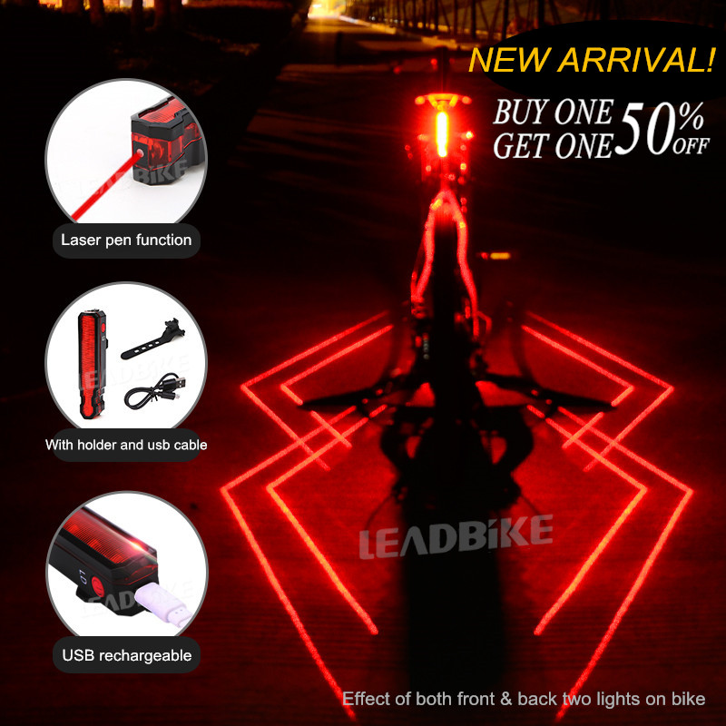 USB Rechargeable Taillight Bike Warning Light Cycling LED Tail Light Waterproof MTB RoadBike Bicycle Rear Light Back Lamp Spider