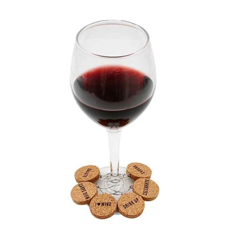 6 шт. пробковые стеклянные амулеты DIY бокал для вина кольца с проволочным обручем напиток маркеры для вечеринок праздники