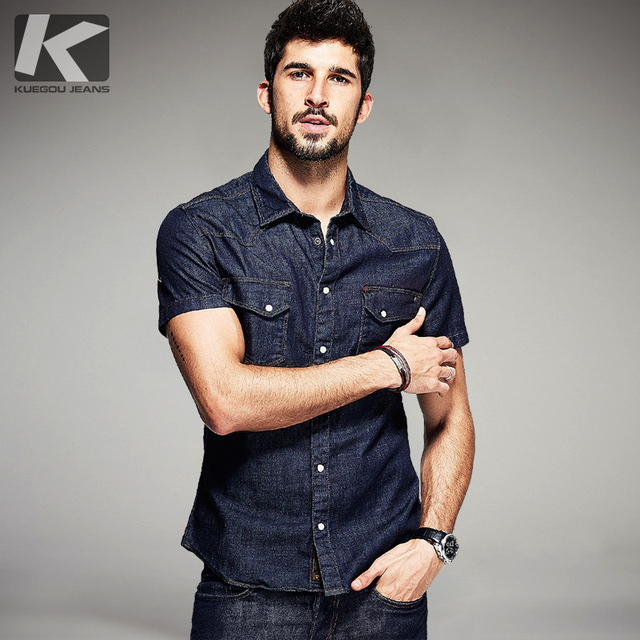 KUEGOU Summer Mens Fashion Denim Shirts Blue Color Pockets Brand Clothing Mans Wear Short Sleeve Slim Fit Jeans Clothes 15502