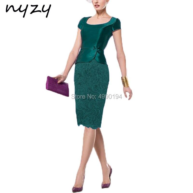 NYZY M118AB Vestido   Cocktail   Green Lace Satin Cap Sleeve Short   Dress   for Wedding Party Guest Evening vestidos de festa curto