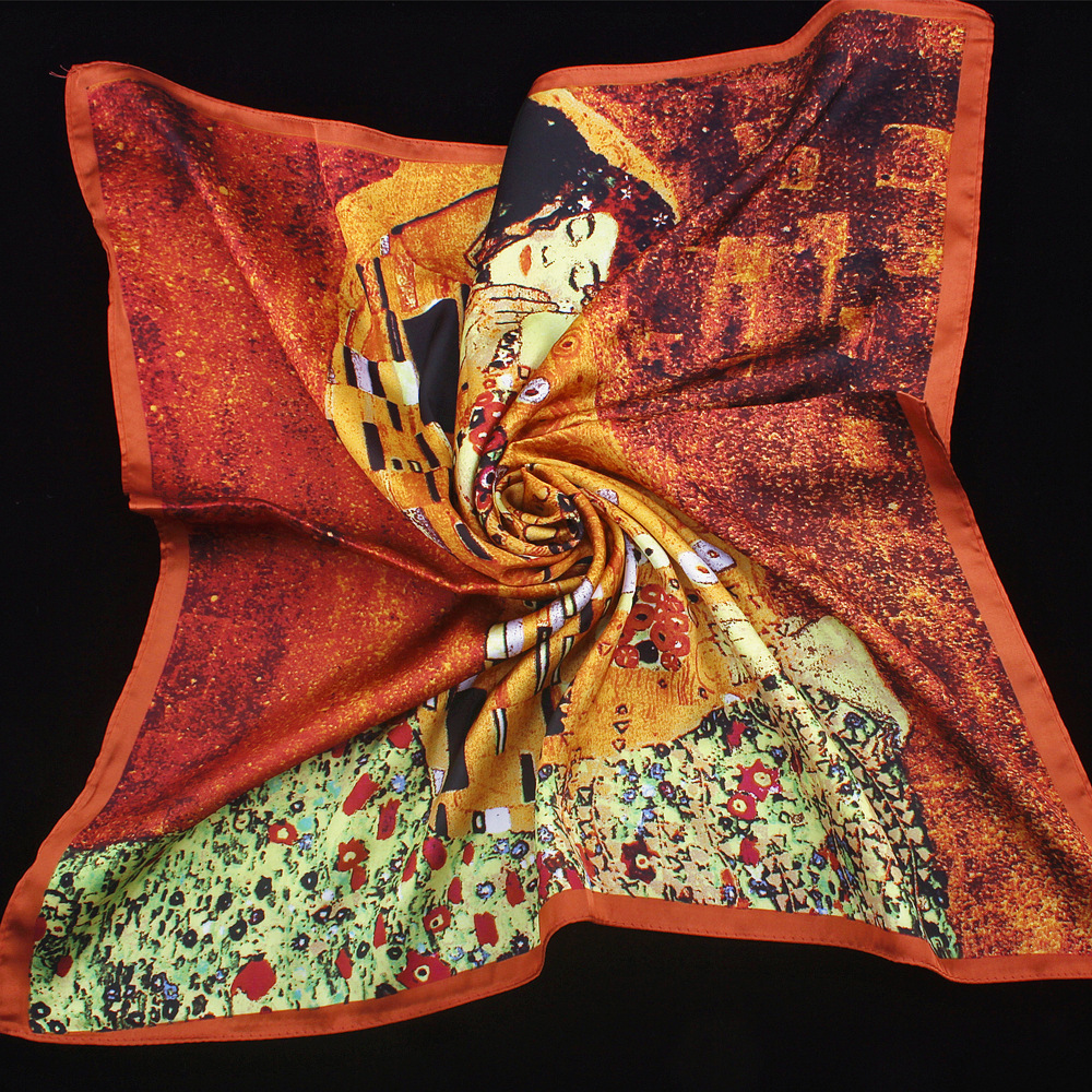 Scarf   Foulard Square Head   Scarves     Wraps   For Women Girls Vintage Foulard   Scarf   Kiss Oil Painting Hair Accessories For Women