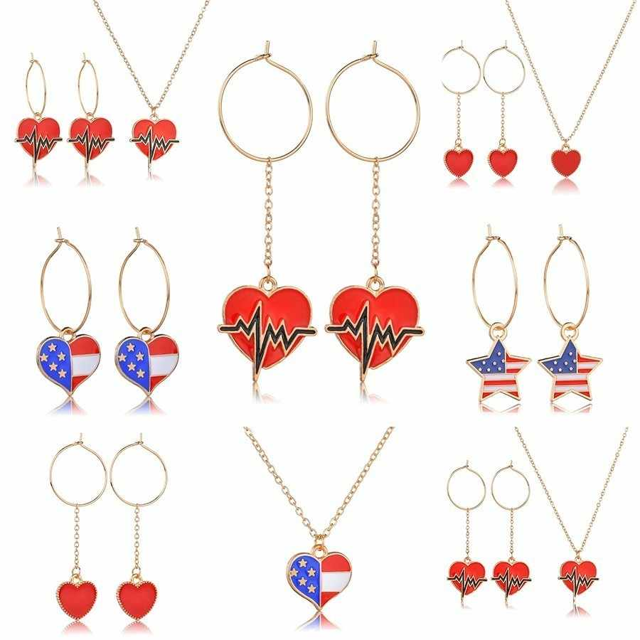 "YANGQI נשים האופנה ארה""ב דגל שרשרת לב צורת עיצוב נשי תכשיטים לנשים תליון & שרשרת תכשיטי חתונה"