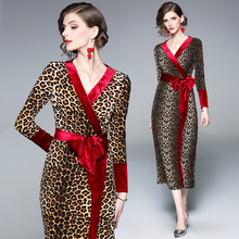 Leopard Print Women Long Dress Bow Bodycon 2019 Spring New Sexy V collar Velvet Dress Female Party Long Sleeve Vestidos