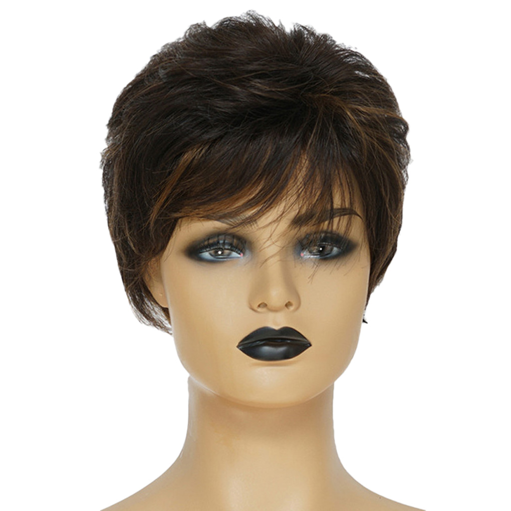 Natural Short Curly Wigs Human Hair Pixie Cut Wig for Women w/ Bangs 8 inch 8 short straight wigs human hair pixie cut chic wig for women w bangs black straight