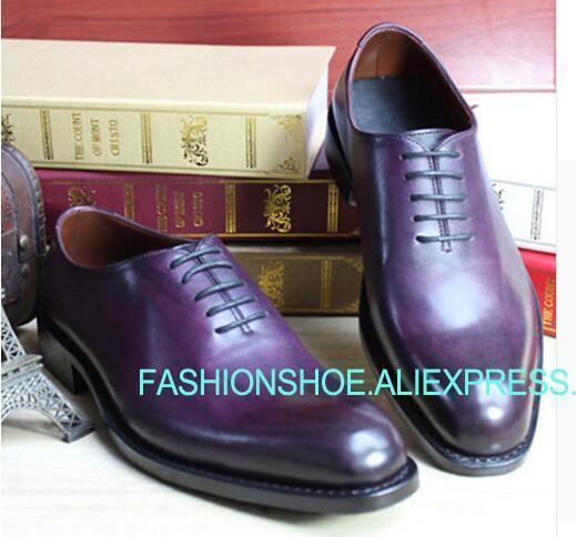 2019 хорошо Окаймленный обувь из телячьей кожи Boss Для мужчин s фиолетовый Туфли под платье итальянский мужской костюм обувь для жениха Туфли б