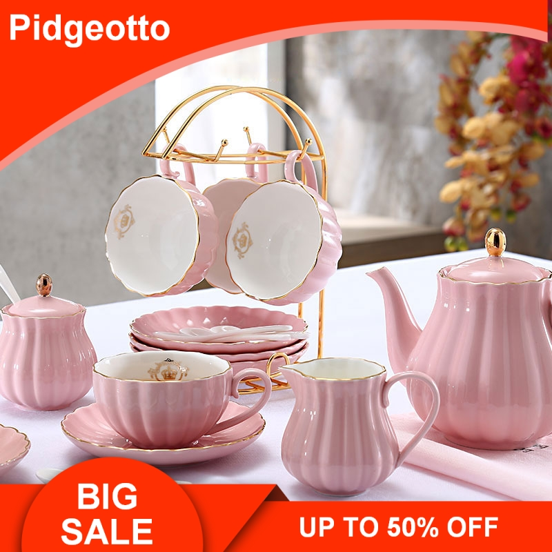 Brief British Bone China Pumpkin Stripe Drinkware Ceramic Coffee Cup Mug With Milk Teapot Saucer Spoon Gold Plated Shelf Kit Set