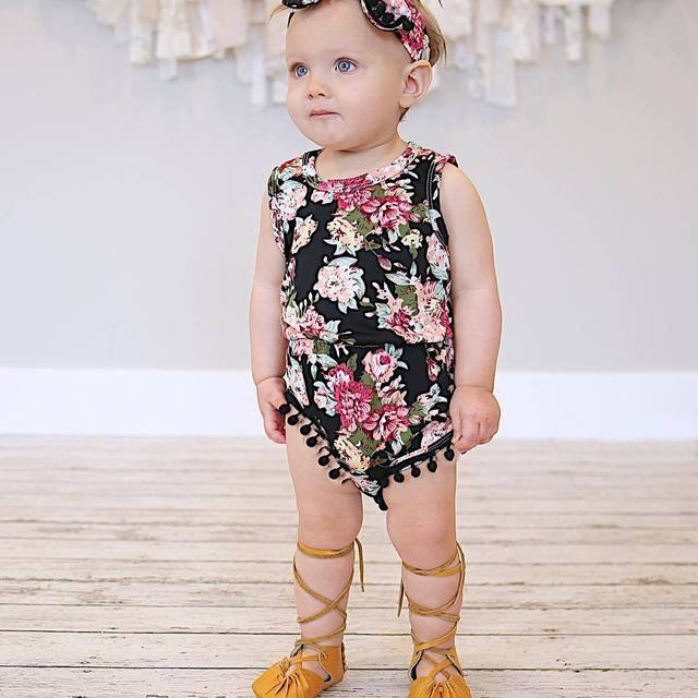Emmababy Sleeveless Flower Print Baby Bubble Romper with