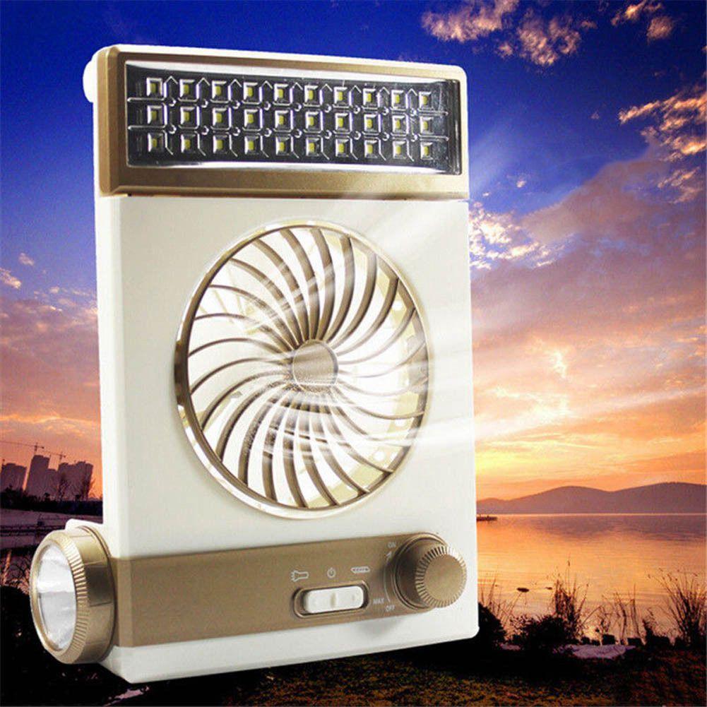 NEW-Multi-function Portable Fan Home LED Table Lamp Outdoor Solar Flashlight Golden