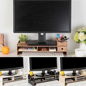 Desk-Holder Shelf Laptop-Stand Computer-Screen-Riser Notebook-Tv Wood Multi-Function