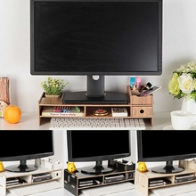 Multi-function Desktop Monitor Stand Computer Screen Riser Wood Shelf Plinth Strong Laptop