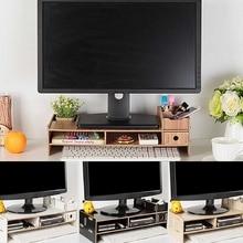 Multi-function Desktop Monitor Stand Computer Screen Riser Wood Shelf Plinth Str