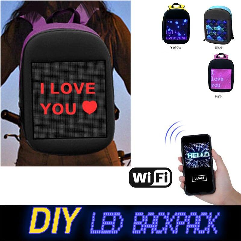 Mode étanche Wifi Version Smart écran LED sac à dos dynamique lumière à assembler soi-même ville marche en plein air escalade sacs publicité Backpa