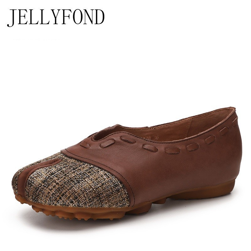 JELLYFOND Natural Genuine Leather Flats Women Finger Toes Handmade Shoes Woman Vintage 2019 Retro Slip On Soft Loafers MoccasinsJELLYFOND Natural Genuine Leather Flats Women Finger Toes Handmade Shoes Woman Vintage 2019 Retro Slip On Soft Loafers Moccasins