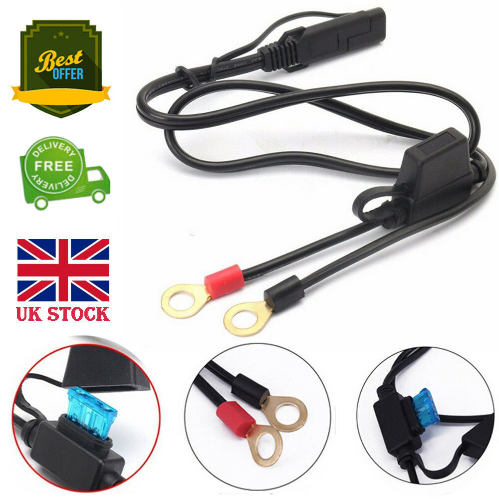 12V Motorcycle Battery Charger Terminal Ring Connector Cable Output Connect