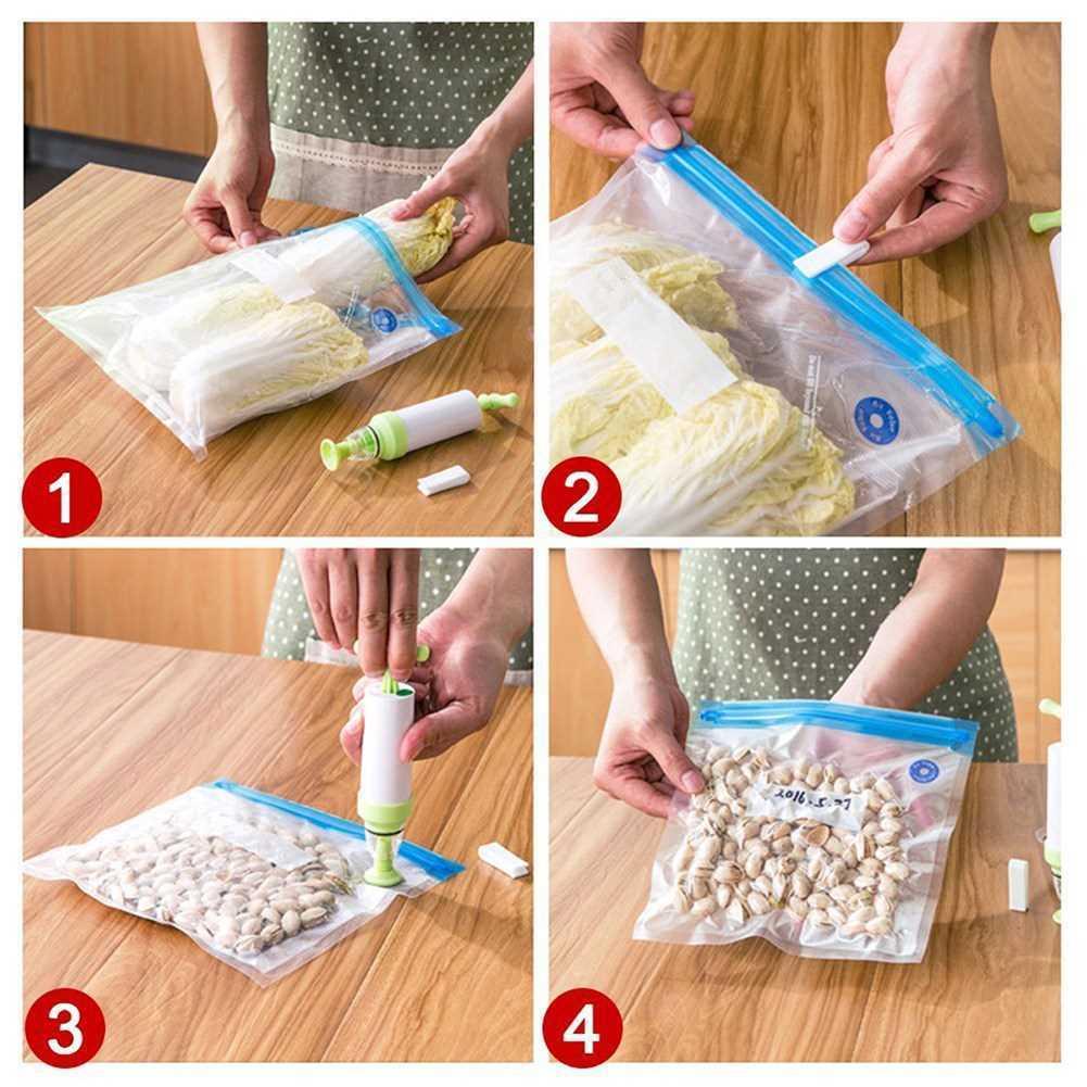 Вакуумный мешок для пищевых продуктов, ручной насос, вакуумный упаковщик для пищевых продуктов, многоразовый силиконовый мешок для пищевых...