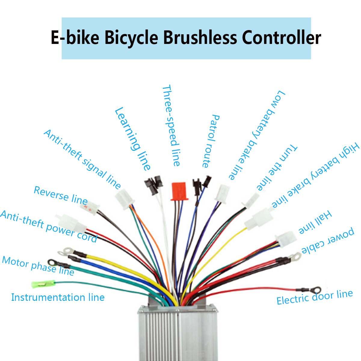 36-48V 1500W Brushless Motor Controller Reverse Function for Hall E-Bike Scooter