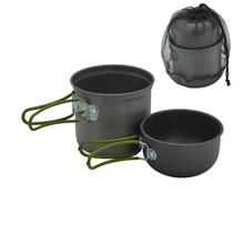 2019 Cookware Camping Hiking Picnic Cooking Pot Bowl Set Aluminum Durable Outdoor Picnic Pot Cooker keith 2017 new camping cookware titanium pot outdoor camping hiking hunting picnic cooking set utensilios de cocina 170g kp6012