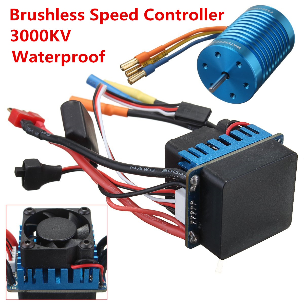 Racing 60A ESC Brushless Speed Controller F540-3000KV Brushless Motor 13T Motor for 1/10 1/12 RC Car 45a brushless speed controller esc w fan for 1 18 1 12 cross country car