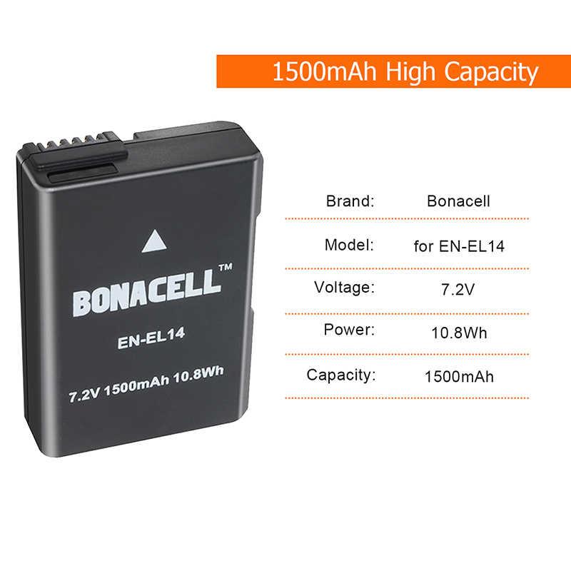 Bonacell 2 uds para Nikon EN-EL14 1500mAh baterías recargables D3100 D3200 D3300 D5100 D5200 D5300 P7000 P7100 P7700 P7800 L50