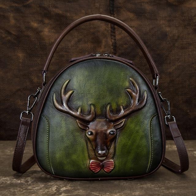 Women Genuine Leather Shoulder Messenger Bags Retro Deer Pattern Vintage Tote Handbag Crossbody Small CircularTop Handle Bag