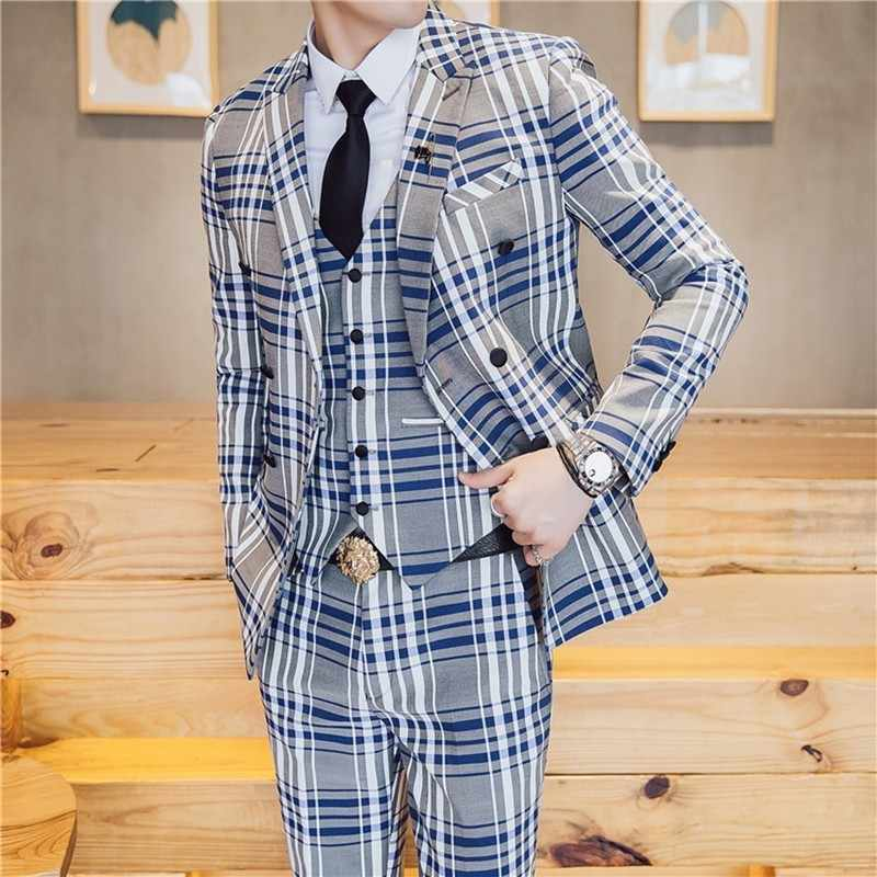 Suits Men British Latest Coat Pant Designs Mens Suit Slim Fit Plaid Stage Performance Wedding Dress Tuxedos