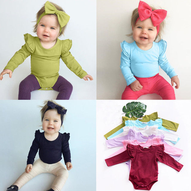 Pudcoco Girl Jumpsuits Newborn Toddler Baby Girls Summer Romper Long Sleeve Outfits Jumpsuit M