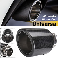 Universal 2.5inch 63mm In 101mm Out Carbon Fiber Car Exhaust Tip Pipe Muffler Rear Tail Throat Glossy