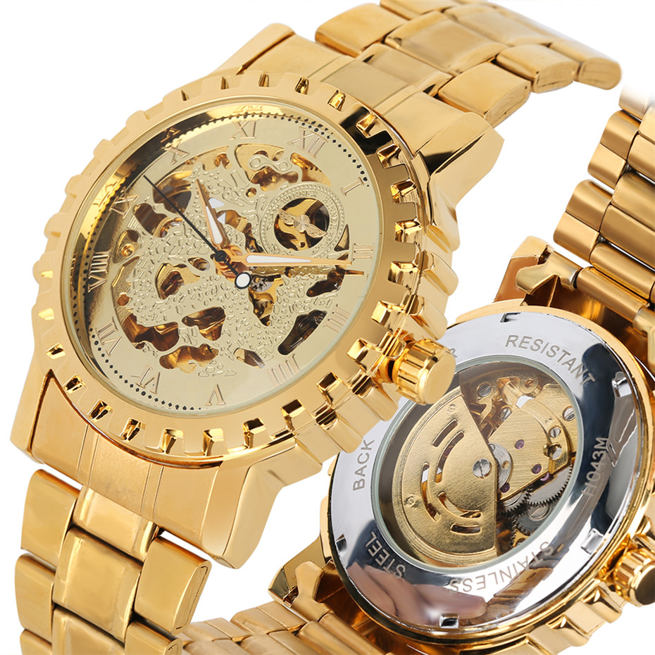 Роскошные золотые автоматические механические мужские наручные часы водостойкие мужские часы классические римские цифры дисплей часы мужской reloj