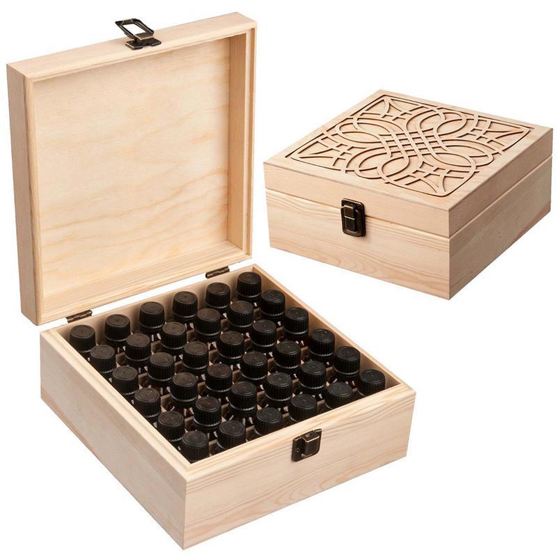 Organizer Makeup-Case-Holder Storage-Box Oil-Bottle Wooden Essential Premium 36-Slot