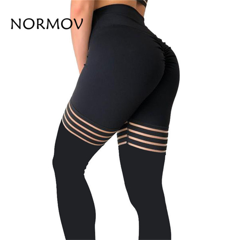 CHRLEISURE nuevas mujeres Fitness sólido Sexy malla retazos Leggings de alta cintura a rayas de poliéster mallas grandes pantalones de elasticidad