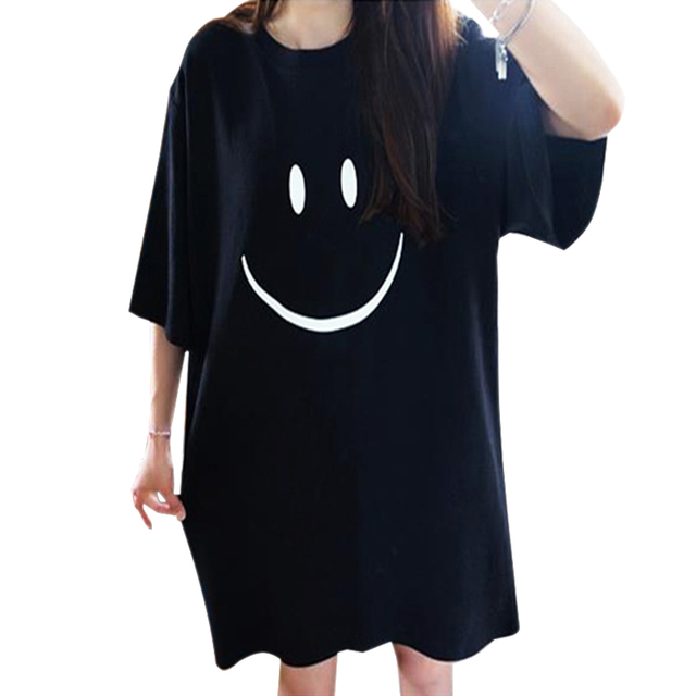 275e13039e Women Dresses 2016 Summer Casual Black Knee-Length Loose Short Sleeve  T-shirt Dress