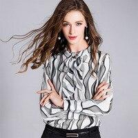 blouse et chemisier femme summer new silk blouse shirt ladies fashion tie wild long sleeved shirt silk bow blouse women 181015