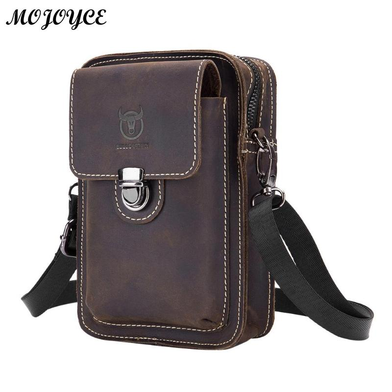 BULLCAPTAIN Crazy Horse Leather Male Waist Back Pack Phone Pouch Bags High Quality Men's Small Chest Shoulder Belt Bag Mochila