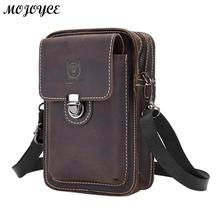 BULLCAPTAIN Crazy Horse Leather Male Waist Back Pack Phone Pouch Bags High Quali
