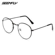 Seemfly-gafas de lectura de Metal ovaladas para hombres y mujeres