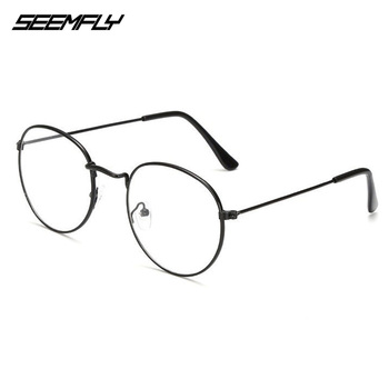 Seemfly owalne metalowe okulary do czytania przezroczyste soczewki mężczyźni kobiety okulary do czytania optyczne okulary spektakl recepta 0 do + 4 0 tanie i dobre opinie Unisex Jasne Lustro 4 8cm Poliwęglan 5 1cm Stop 13 5cm For Small Head People 12 7cm