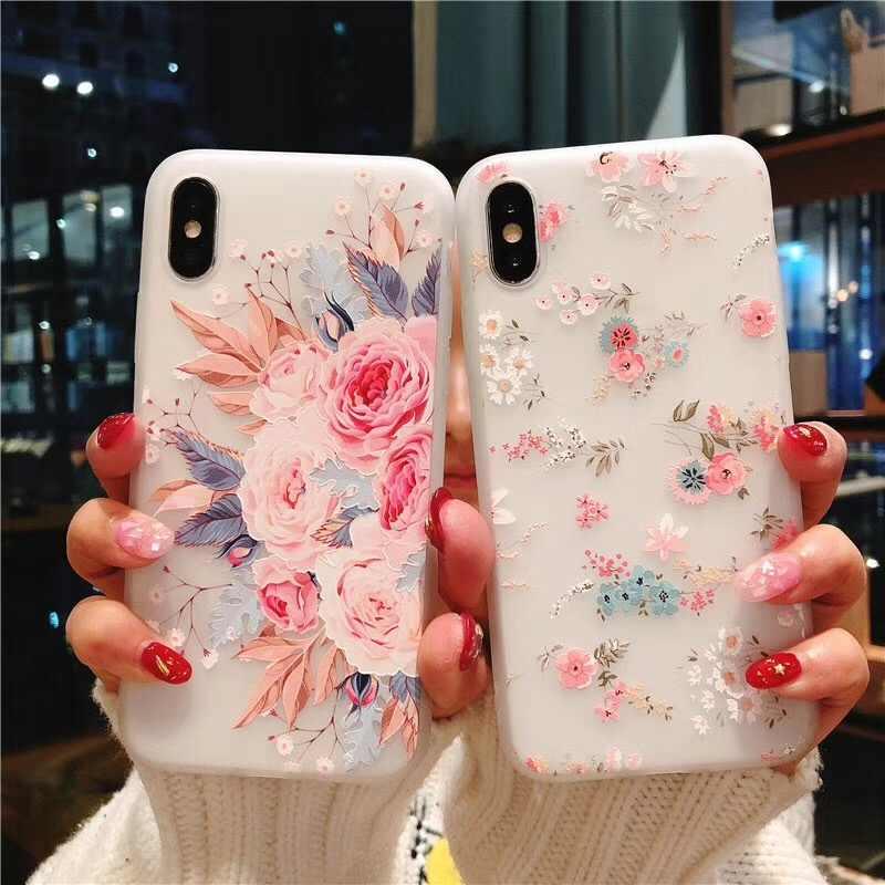 KISSCASE için samsung kılıfı Galaxy Note 10 A50 A70 A30 A20 3D kabartma silikon çiçek samsung kılıfı S10 S8 S9 artı а30s S7 kapak