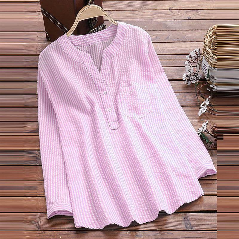 Women Button Down Blouse Cotton Tops 2018 Autumn Female Long Sleeve V Neck Shirt Ladies Striped Work Office Blusas Femininas