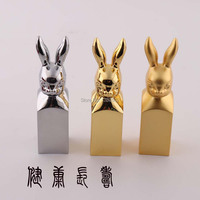 Fashion Rabbit Chinese Culture Metal Seal Stamps Personality Decoration Crafts For Table