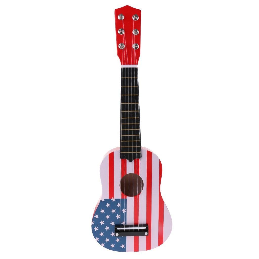 En bois 6 cordes ukulélé guitare Instrument de musique jouet musique apprentissage jouets éducatifs cadeau d'anniversaire pour enfants en bas âge enfants