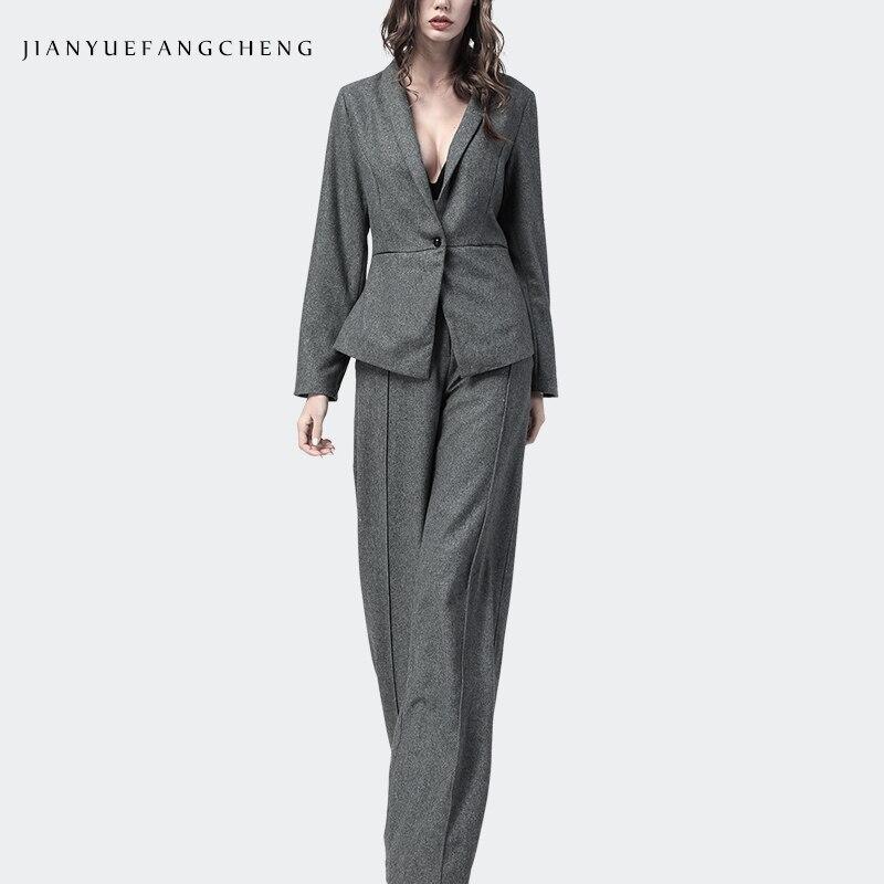 Серый офисный костюм для женщин, комплект из 2 предметов, топ и штаны, широкие зимние шерстяные женские костюмы большого размера, женская оде
