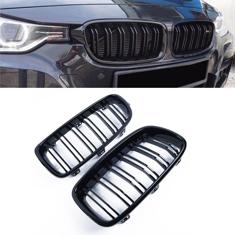 2 pièces gril noir brillant double ailettes avant Kindey Grille avant Surround/radiateur garde-corps pour BMW F30 F31 320i 328i 2012-2014