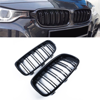One Pair of 100% Brand New And High Quality Gloss Black Twin Fins Front Kindey Grille For BMW F30 F31 2012 2014 3 Series