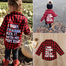 Toddler Kid Baby Boy Girl Printed Plaid Tops Long Sleeve T-shirt Clothes Baby Girl Clothes Red Plaid