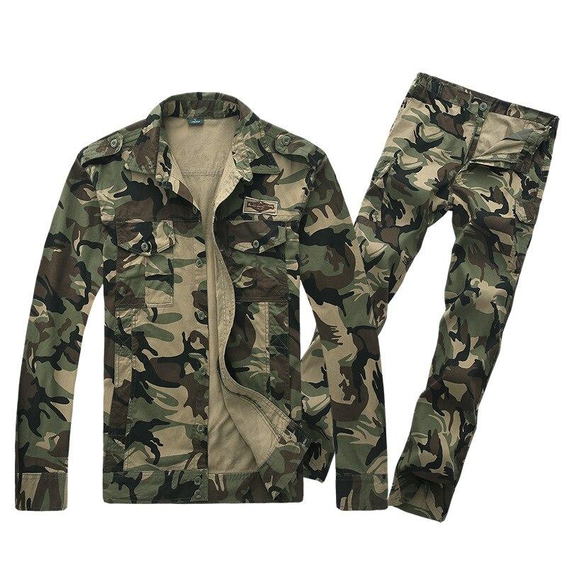 Printemps hommes tactique formation Camouflage costume extérieur multi-poches Anti-usure coton mâle Camping randonnée armée Fans chemise pantalon ensemble